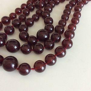 "Talbots Dark Red Beaded Multi Strand Necklace """